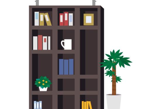 茶色い本棚。