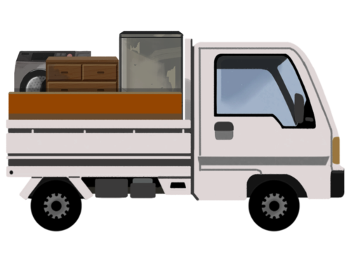 荷台がいっぱいのトラック